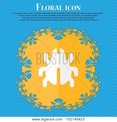 Software Bug, Virus, Disinfection, Beetle . Floral Flat Design On A Blue Abstract Background With Pl