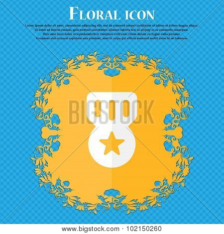 Award, Medal Of Honor . Floral Flat Design On A Blue Abstract Background With Place For Your Text. V