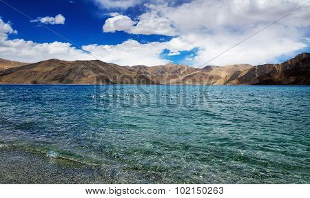 Pangong tso Lake with Mountains in background