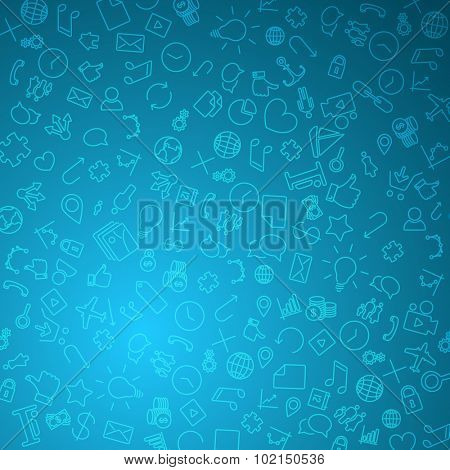 Modern technology background made from icons and pictograms