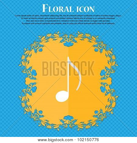 Musical Note, Music, Ringtone. Floral Flat Design On A Blue Abstract Background With Place For Your