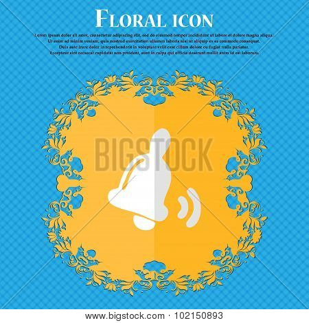 Bell . Floral Flat Design On A Blue Abstract Background With Place For Your Text. Vector