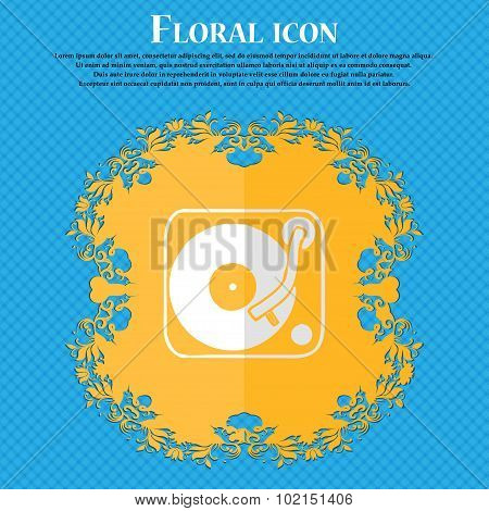 Gramophone, Vinyl. Floral Flat Design On A Blue Abstract Background With Place For Your Text. Vector