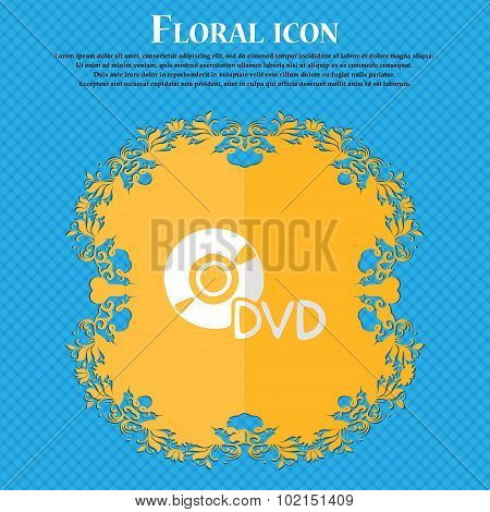 Dvd. Floral Flat Design On A Blue Abstract Background With Place For Your Text. Vector