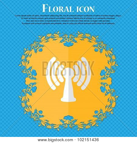 Wi-fi, Internet. Floral Flat Design On A Blue Abstract Background With Place For Your Text. Vector