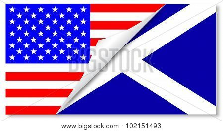 United States And Scotland Flags Combined