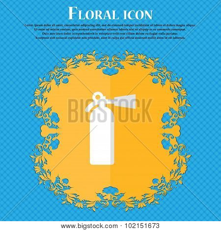 Fire Extinguisher. Floral Flat Design On A Blue Abstract Background With Place For Your Text. Vector