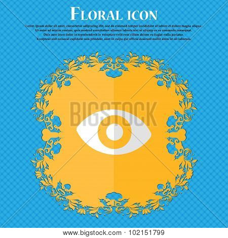 Sixth Sense, The Eye. Floral Flat Design On A Blue Abstract Background With Place For Your Text. Vec