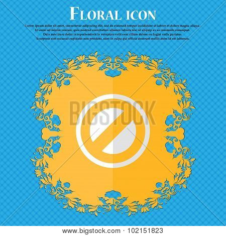 Cancel. Floral Flat Design On A Blue Abstract Background With Place For Your Text. Vector