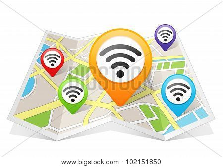 Wifi Network Wireless Internet Connection Map pointer Location Destination on map