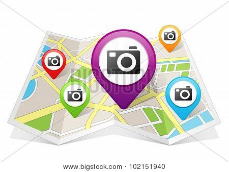 Camera Snapshot Sightseeing Map pointer Location Destination on map