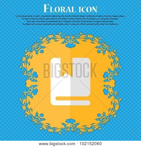 Bookmark. Floral Flat Design On A Blue Abstract Background With Place For Your Text. Vector