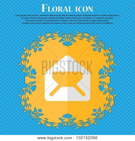 Mail, Envelope, Letter. Floral Flat Design On A Blue Abstract Background With Place For Your Text. V