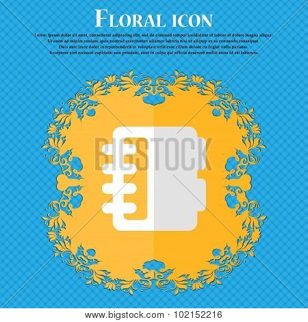 Notepad, Calendar. Floral Flat Design On A Blue Abstract Background With Place For Your Text. Vector