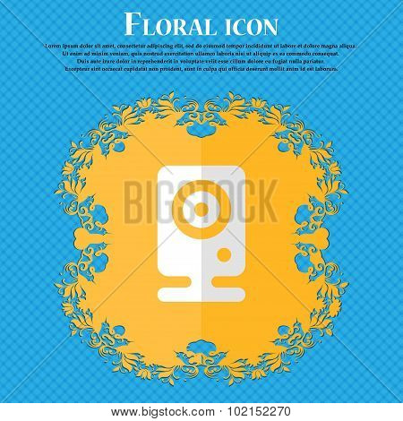 Web Cam. Floral Flat Design On A Blue Abstract Background With Place For Your Text. Vector