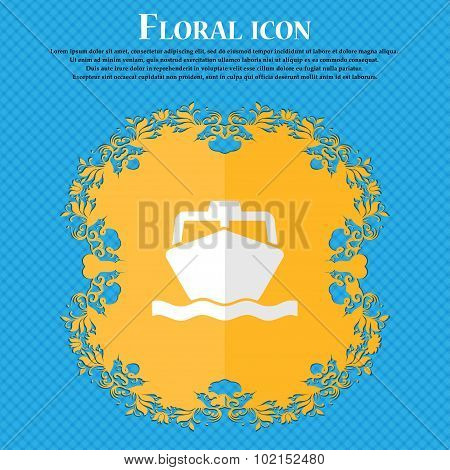 The Boat. Floral Flat Design On A Blue Abstract Background With Place For Your Text. Vector
