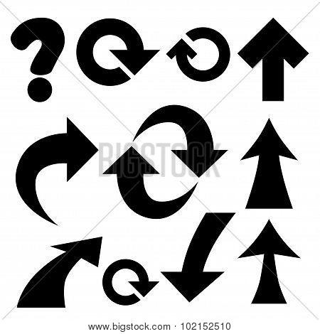 arrows and symbols.