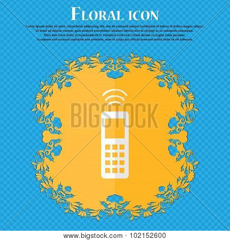 The Remote Control. Floral Flat Design On A Blue Abstract Background With Place For Your Text. Vecto