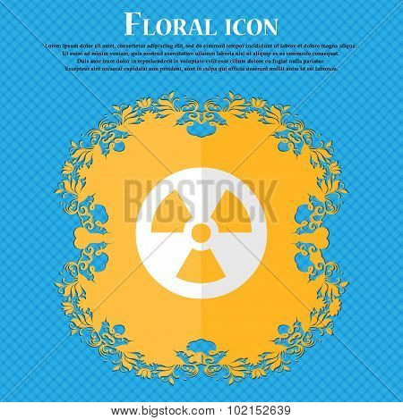 Radiation. Floral Flat Design On A Blue Abstract Background With Place For Your Text. Vector