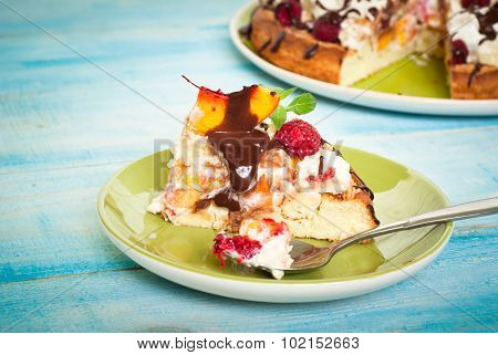 Cake With Peaches And Raspberries