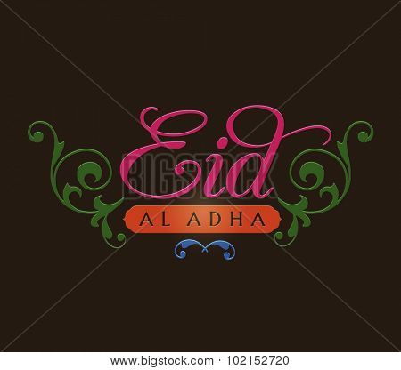 Beautiful decorative English typography unit for 'Eid Al-adha' greetings. Vector design.