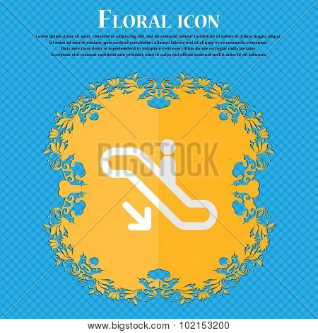 Elevator, Escalator, Staircase. Floral Flat Design On A Blue Abstract Background With Place For Your