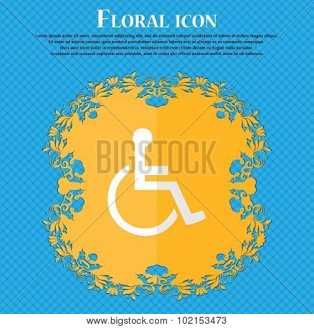 Disabled. Floral Flat Design On A Blue Abstract Background With Place For Your Text. Vector