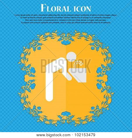 Drinking Fountain. Floral Flat Design On A Blue Abstract Background With Place For Your Text. Vector