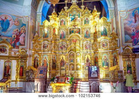 Izhevsk, Russia - September 16, 2015: Interior of russian orthodox church. Iconostasis in Saint Mich