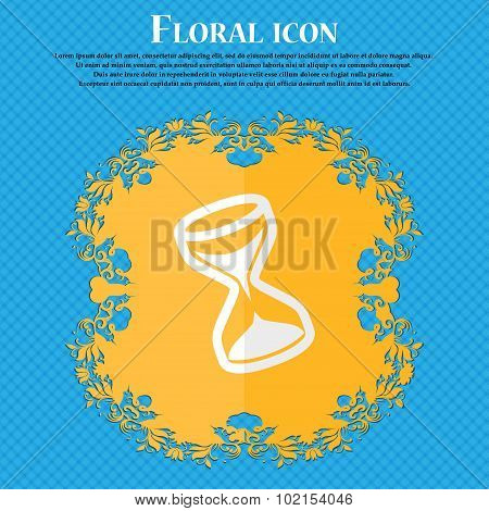Hourglass. Floral Flat Design On A Blue Abstract Background With Place For Your Text. Vector
