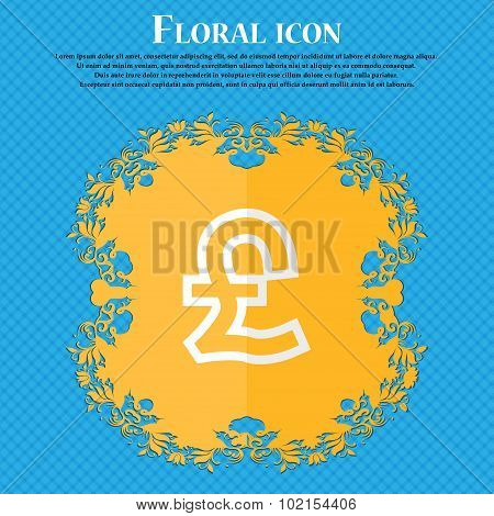 Pound Sterling. Floral Flat Design On A Blue Abstract Background With Place For Your Text. Vector
