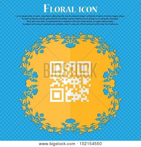 Qr Code. Floral Flat Design On A Blue Abstract Background With Place For Your Text. Vector