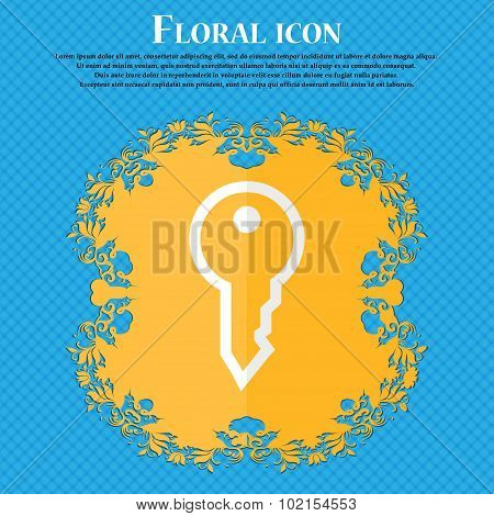 Key. Floral Flat Design On A Blue Abstract Background With Place For Your Text. Vector