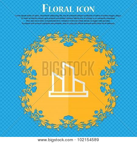 Diagram. Floral Flat Design On A Blue Abstract Background With Place For Your Text. Vector