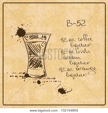 Illustration with hand drawn sketch B-52 cocktail. Including recipe and ingredients on an orange grunge vintage background
