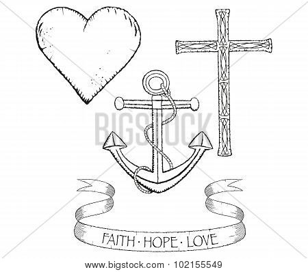 Symbols for faith hope and love