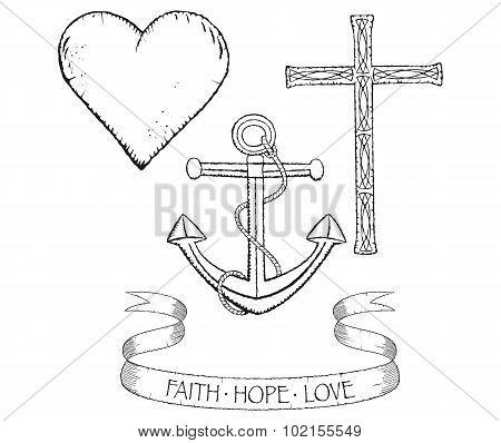 Symbols for faith hope and love