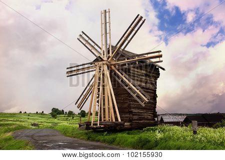 Wooden Windmill. Kizhi Island, Russia
