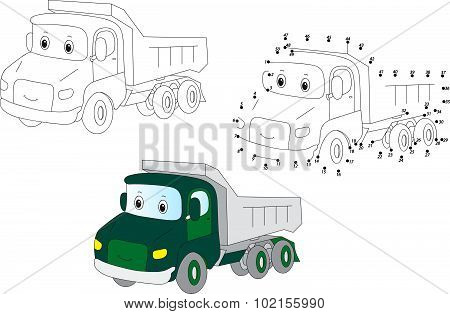 Cartoon Lorry. Vector Illustration. Coloring And Dot To Dot Game For Kids