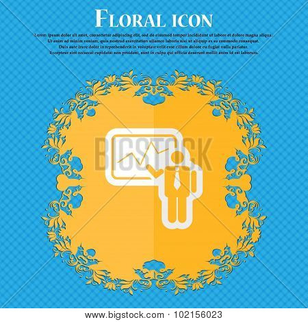 Businessman Making Report. Floral Flat Design On A Blue Abstract Background With Place For Your Text