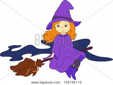 Lovely Friendly Witch Flying On A Broomstick. Vector Illustration For Halloween