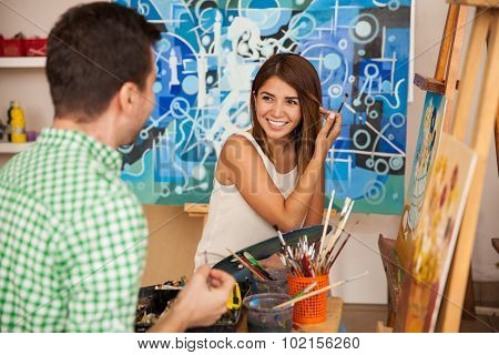 Art Workshop On Their First Date