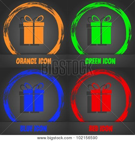 Gift Box Sign Icon. Present Symbol. Fashionable Modern Style. In The Orange, Green, Blue, Red Design