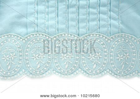 Embroidery Truquoise Fabric White Flower Design