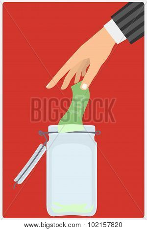 hand throwing a glass jar