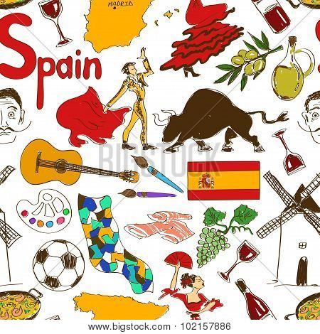 Sketch Spain Seamless Pattern.