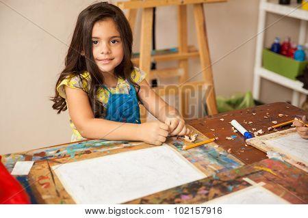 Gorgeous Girl Enjoying Art Class