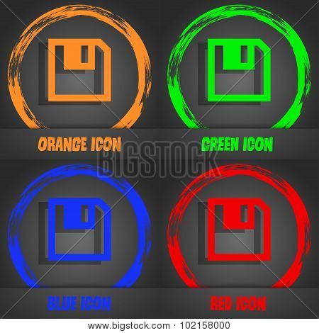 Floppy Icon. Flat Modern Design. Fashionable Modern Style. In The Orange, Green, Blue, Red Design. V