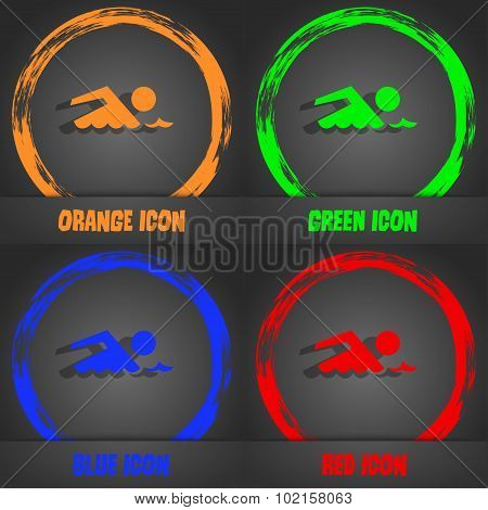 Swimming Sign Icon. Pool Swim Symbol. Sea Wave. Fashionable Modern Style. In The Orange, Green, Blue