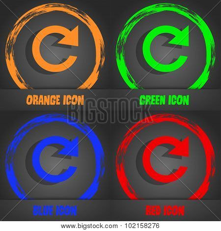 Update Sign Icon. Full Rotation Arrow Symbol. Fashionable Modern Style. In The Orange, Green, Blue,